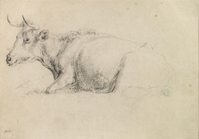 School of Aelbert  Cuyp (Dutch, 1620-1691) A study of a cow 6 x 9in