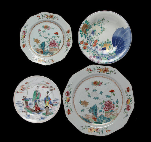 Three famille rose porcelain plates together with an enameled porcelain plate