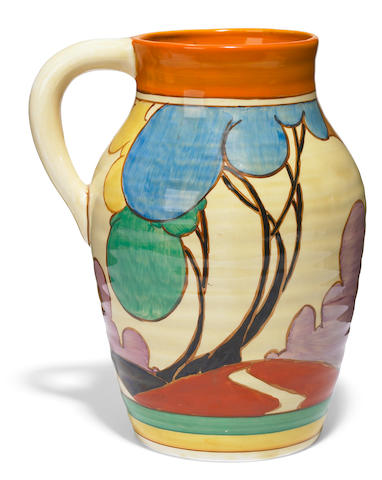 A Clarice Cliff glazed earthenware Autumn (Balloon Trees) Lotus jug