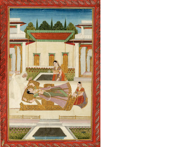 Lady swooning on a bed, Lucknow