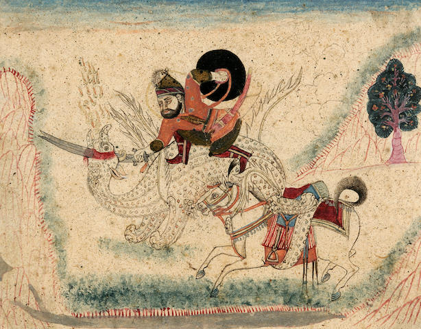 Hero slaying a Dragon, India 19th century