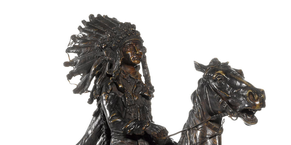 A fine patinated bronze of an Indian chief on horseback<BR />after Carl Kauba (Austrian - American, 1865-1922)<BR />early 20th century