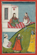 Five illustrations to the Rasikapriya, opaque watercolor on paper, Mandi, late 18th century