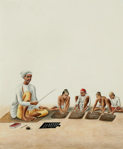 Two Company school illustrations; Turbaned scholar and 4 pupils and Scholar with scull cap and beard, and two pupils on blue striped mat; opaque watercolor on paper; Patna circa 1850