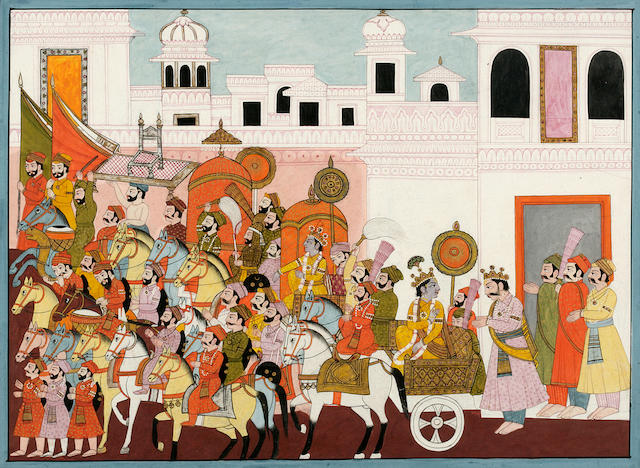 Illustration to a Krishna Rukmini series: Krishna leaves the court Garhwal, circa 1840