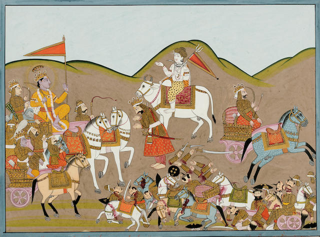 Illustration to the Mahabharata; opaque watercolor and gold on paper; Garhwal date 1863