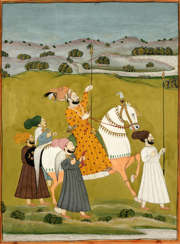 Ruler hunting with entourage; opaque watercolor on paper; Nrh. India mid 19th century