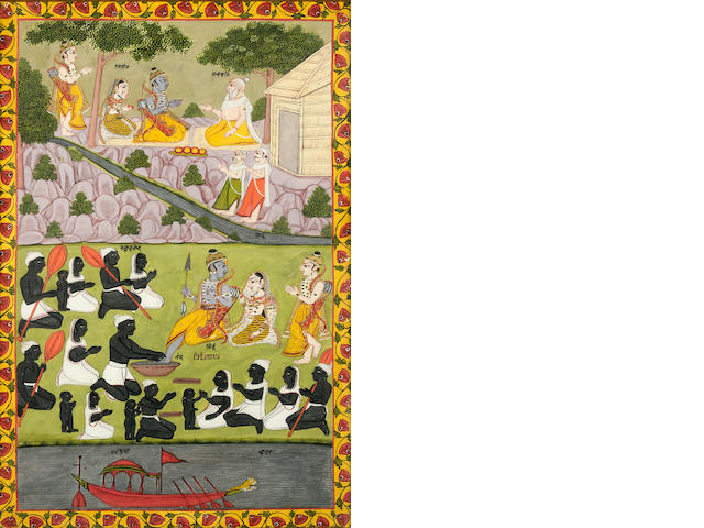 An illustration to the 'Impey' Ramayana; opaque watercolor and gold on paper Murshidabad c. 1770