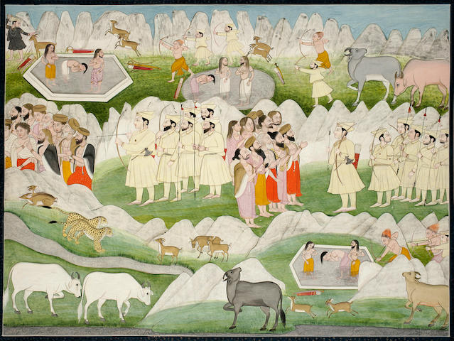 Illustration to the Mahabharata; Gaddis meet rishis in the mountains; opaque watercolor and gold on paper Kangra circa 1830