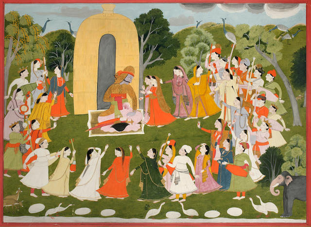 Illustration to the Mahabharata: Arjuna approached by villagers; opaque watercolor and gold on paper Kangra circa 1830