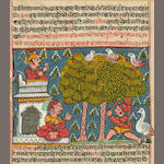 Illustration to a Jain manuscript; opaque watercolor and ink on paper; Gujarat or Rajasthan, 17th century