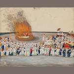 Suttee scene; opaque watercolor on mica; Lucknow/Patna c. 1830