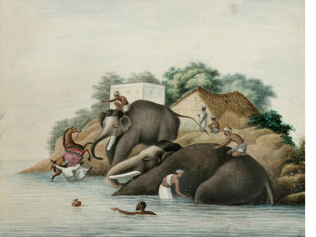 Bani Lal (1850-1901) Elephants bathing in the river; opaque watercolor on paper; Patna, c. 1880
