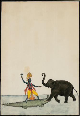 Two manuscript pages: a double-side illustration to Devi Mahatmya and Gajendramoksha; opaque watercolor and ink on paper; Nepal early 19th century