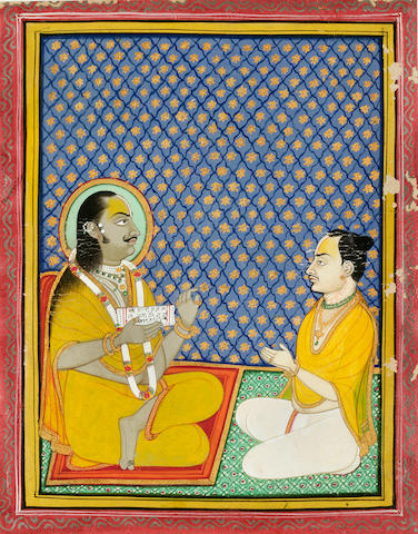 The sait Sri Valbha seated discussing a text with a disciple; opaque watercolor on paper; Nathdwara, late 19th century