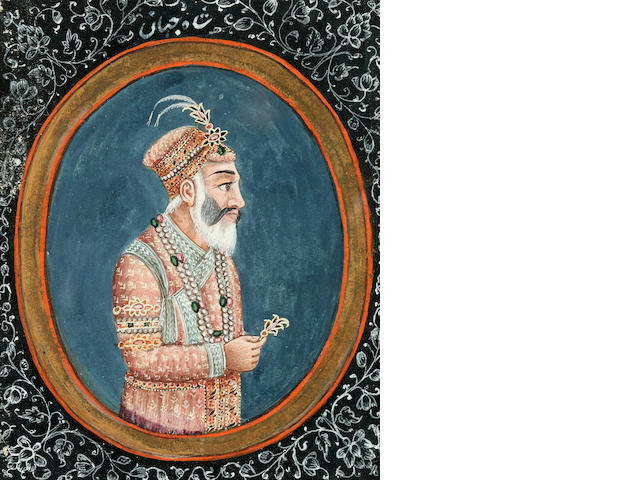Portrait of Shah Jehan, opaque watercolor on paper, Nth India circa 1850