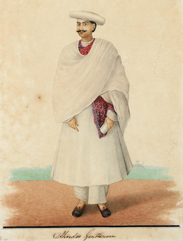 Hindoo Gentleman; Studio of Sheikh Muhammad Amir; opaque watercolor and ink on paper; Calcutta c. 1845