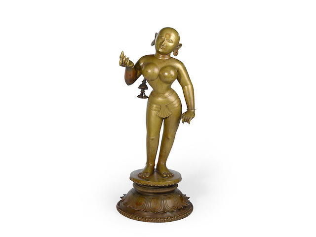 A cast bronze standing figure of Radha 17th/18th century, Orissa
