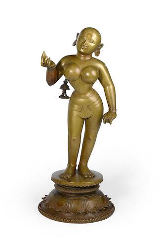 A brass figure of Radha Orissa, circa 16th century