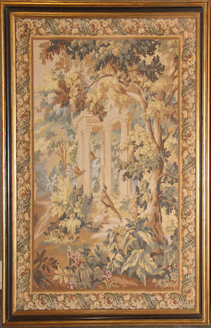 A French garden tapestry, framed first half 20th century