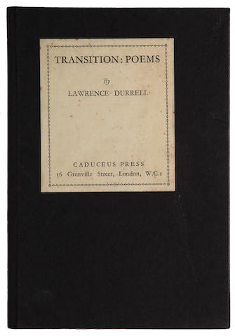 DURRELL, LAWRENCE. 1912-1990. Transition: Poems. London: Caduceus Press, 1934.
