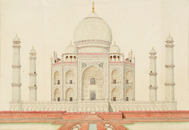 A group of three school studies of the Taj and the Tomb of Itimad-ud-Duala