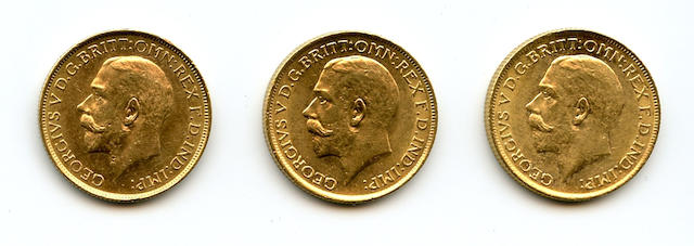 Australia, George V, Sovereigns, 1912-S (3)