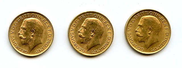 England, George V, Sovereigns, 1912 (3)