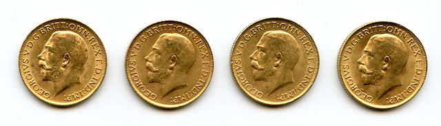 Great Britain, George V, Sovereigns, 1913 (4)