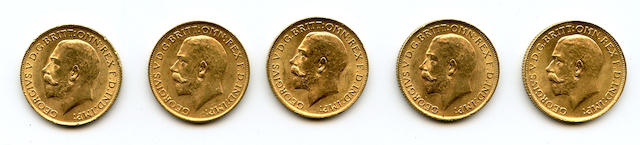 Great Britain, George V, Sovereigns, 1913 (5)