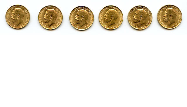 England, George V, Sovereigns, 1913 (6)