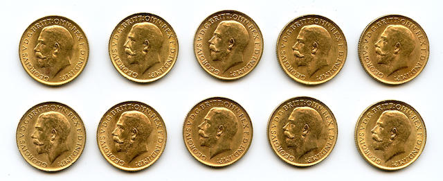 England, George V, Sovereigns, 1913 (10)
