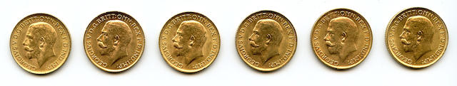 England, George V, Sovereigns, 1914 (6)