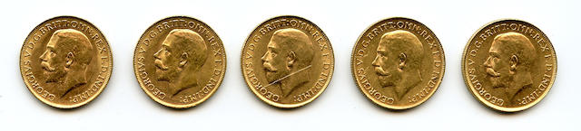 Australia, George V, Sovereigns, 1914-P (5)