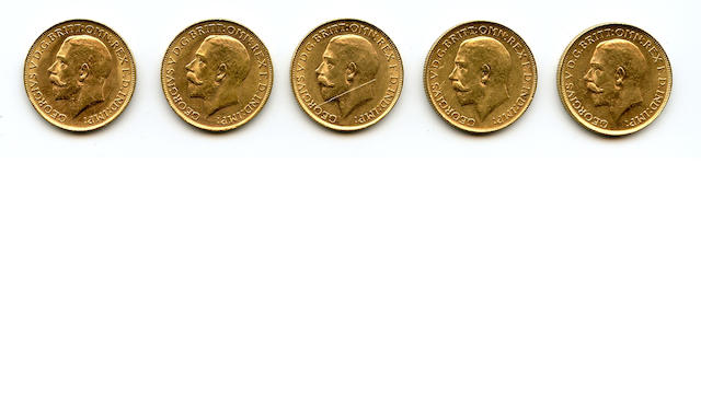 Australia, George V, Sovereigns, 1914-P (5)