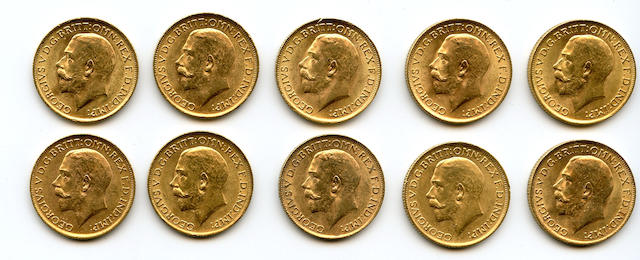 England, George V, Sovereigns, 1915 (10)
