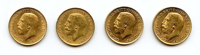 Australia, George V, Sovereigns, 1918-P (4)