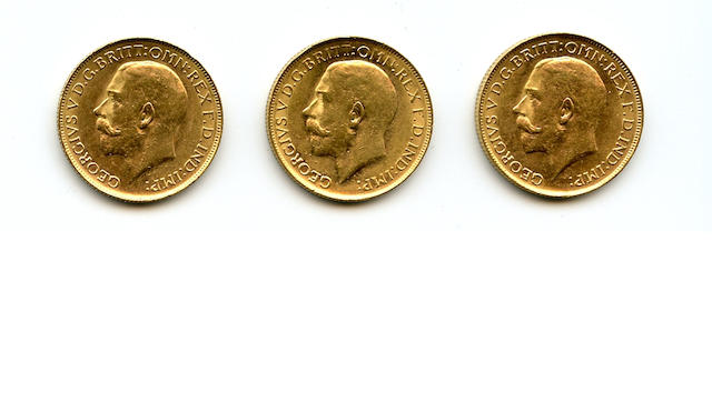 Australia, George V, Sovereigns, 1918-P (3)