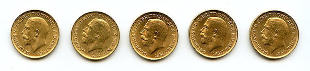 Australia, George V, Sovereigns, 1918-S (5)