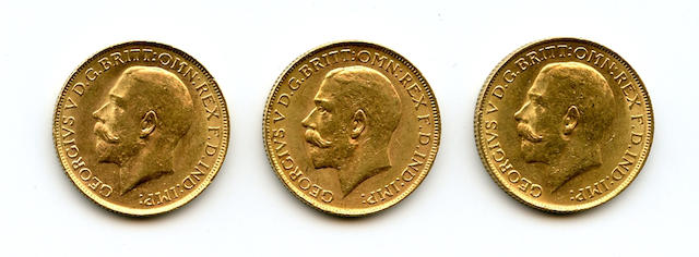 Australia, George V, Sovereigns, 1920-P (3)