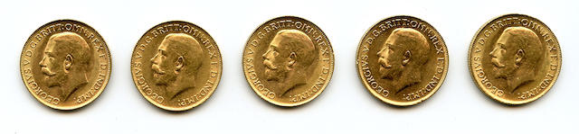 Australia, George V, Sovereigns, 1922-P (5)