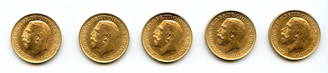 England, George V, Sovereigns, 1925 (5)