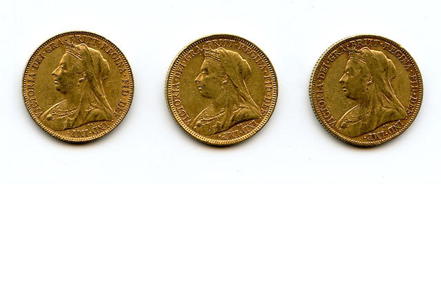 Australia, Victoria, Sovereigns, 1894-M, 1897-M, 1898-M