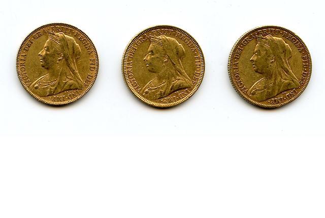 Australia, Victoria, Sovereigns, 1894-M, 1897-M, 1898-M
