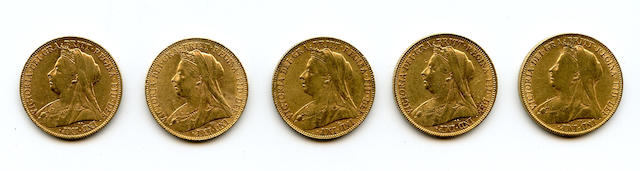 England, Victoria, Sovereigns, 1900 (5)