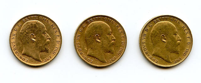England, Edward VII, Sovereigns, 1902 (3)