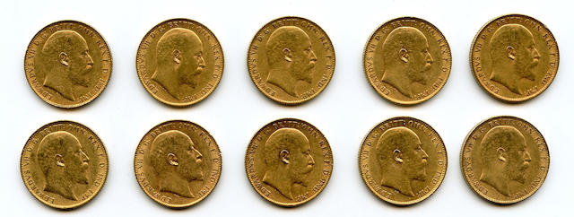 England, Edward VII, Sovereigns, 1903 (10)