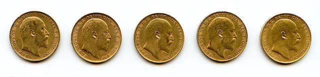 England, Edward VII, Sovereigns, 1904 (5)