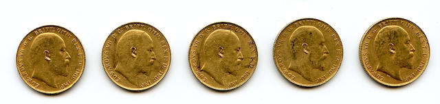 Australia, Edward VII, Sovereigns, 1907-P (5)
