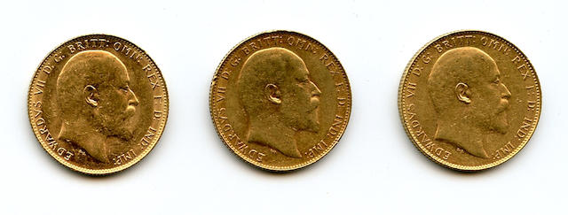 Australia, Edward VII, Sovereigns, 1908-P (3)